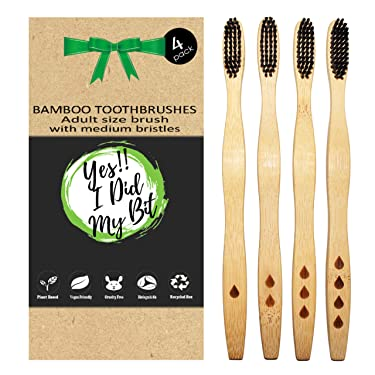 Bamboo Toothbrushes Eco Friendly   4 Pack   Wooden Bamboo Handle   100% BPA Free   Soft Charcoal Bristle   Bio degradable