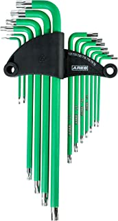 ARES 70166-13-Piece Extra Long Arm Star Key Wrench Set - Chrome Finish with Green High Visibility Anti-Slip Coating - Convenient Storage Case Included