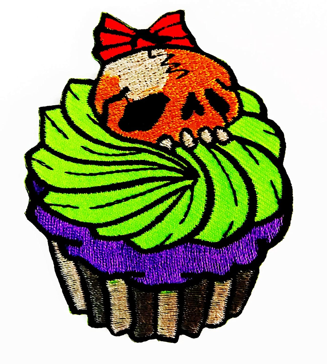 Cupcake Cartoon Halloween Skull Head Bakery Cake 2.5X3 in MEGADEE Patch Embroidered Iron on Hat Jacket Hoodie Backpack Ideal for Gift (Cupcake Cake 022)