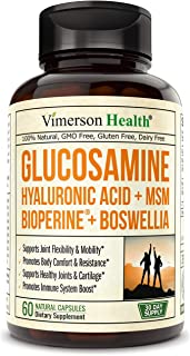 Sponsored Ad - Glucosamine Sulfate with Hyaluronic Acid. Bioperine, MSM, Boswellia. Occasional Joint Pain Relief Supplemen...