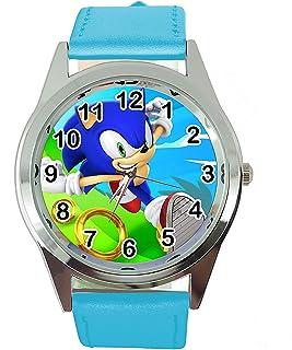 TAPORT® Reloj de cuarzo azul banda de cuero redondo para Sonic The Hedgehog Fans E3
