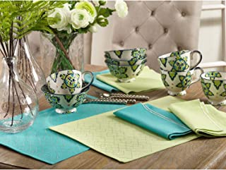 Occasion Gallery Sea Blue-Green Color Stitched Diamond Design Dining Placemat, 13