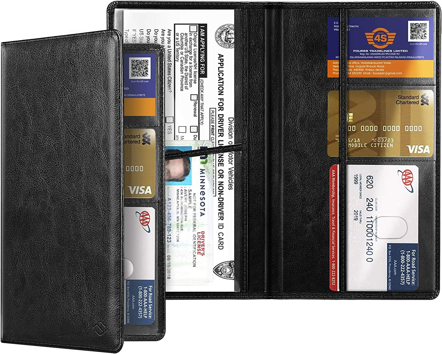 Vintage Black, Compact Size Vehicle Glovebox Card Organizer Wallet ID Card Holder for Essential Automobile Documents FINPAC Car Registration and Insurance Holder