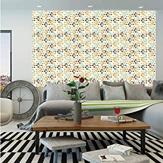 Abstract Huge Photo Wall Mural,Funky Molecule Like Figures with Circles and Dots Science Lab Theme,Self-Adhesive Large Wallpaper for Home Decor 108x152 inches,Orange Silver Light Blue