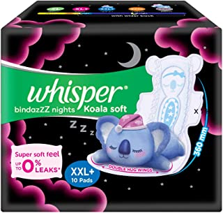 Whisper Bindazzz Nights Koala Soft Sanitary Pads, XXL+ 10 Napkins