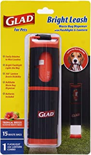Glad for Pets Bright Leash Waste Bag Dispenser with Flashlight| Dog Waste Bag Dispenser Includes 15 Dog Waste Bags With Sa...
