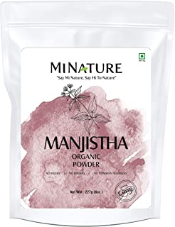 mi nature USDA Certified Organic Manjistha Powder (Rubia CORDIFOLIA) Powder (227g / (1/2 lb) / 8 Ounces) |Cleanses The Blo...