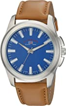 U.S. Polo Assn. Men's Analog-Quartz Watch with Leather-Synthetic Strap, Beige, 22 (Model: US5228)