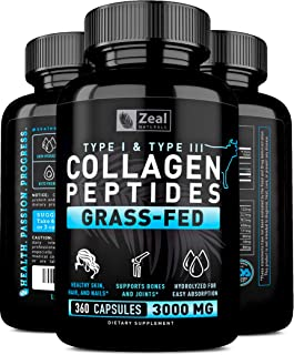 Pure Collagen Peptides Collagen Pills (360 Capsules) 100% Grass Fed Collagen Protein Powder
