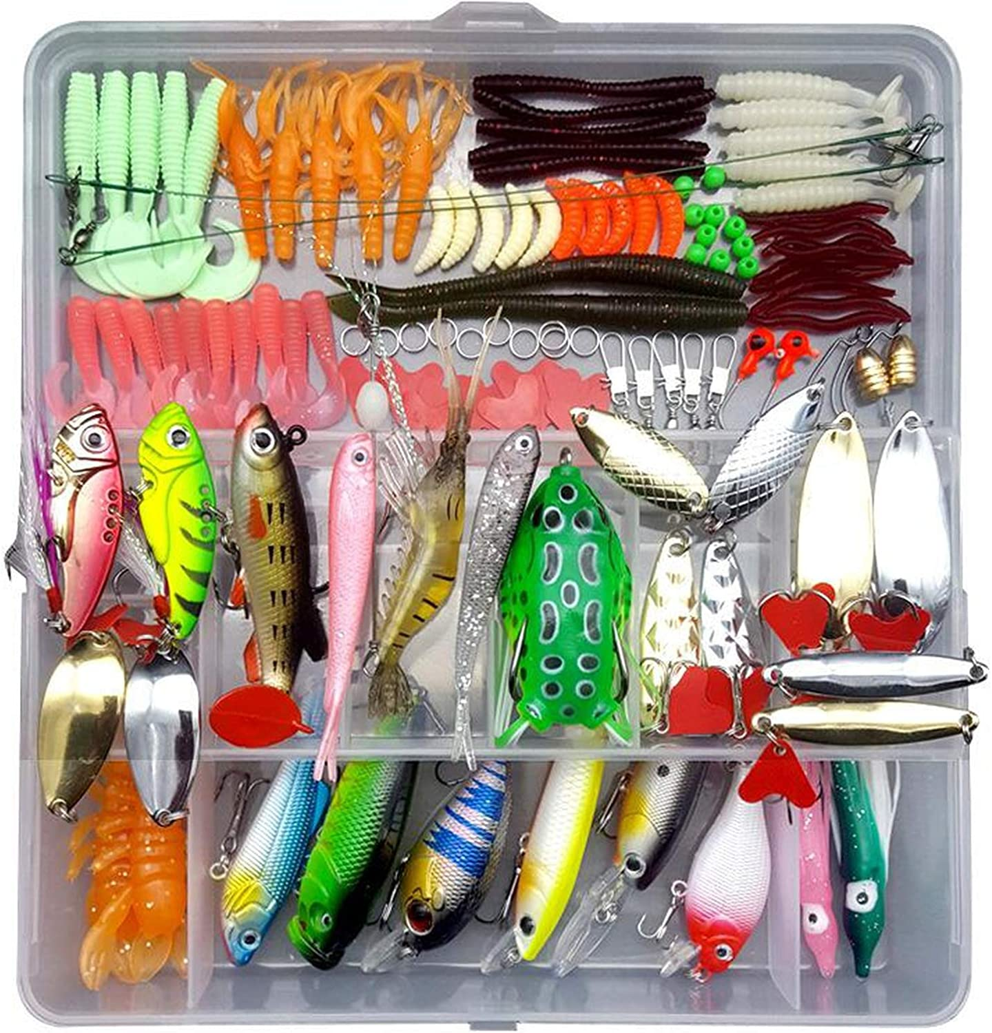 205 206 207Pcs Fishing Lures Set Mixed Minnow Plier Grip Spoon Hooks Soft Lure Kit in Box Artificial Bait Fishing Pesca