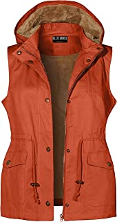 OLLIE ARNES Women's Faux Fur Lined Anorak Vest Jacket with Removable Hoodie
