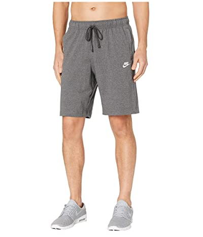 Nike NSW Club Shorts Jersey (Charcoal Heather/White) Men