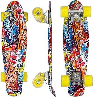 奈良シルク ミニクルーザー スケートボード 22インチ スケボー 光るタイヤ ABEC7ベアリング採用 高精度 集中力や平衡感覚育成 スケボー初心者に 大人/若者/子供用 誕生日/プレゼントなどに