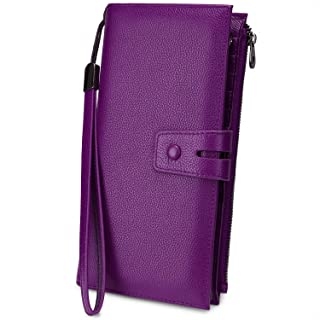 YALUXE Women's Leather Clutch Wristlet Wallets RFID Blocking Genuine Cowhide Lady Purse 22 Slots Credit Card Phone Holder