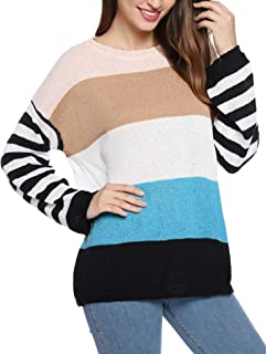 Hawiton Jersey Punto Mujer Invierno Rayas Camisa Manga Larga Suéter Suelto Pullover Tops Elegantes Sudaderas Blusas Talla ...