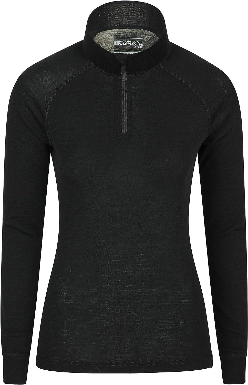 Antibacteriana Camiseta Ligera para Mujer Mountain Warehouse Top t/érmico Interior de Lana Merina para Mujer Transpirable