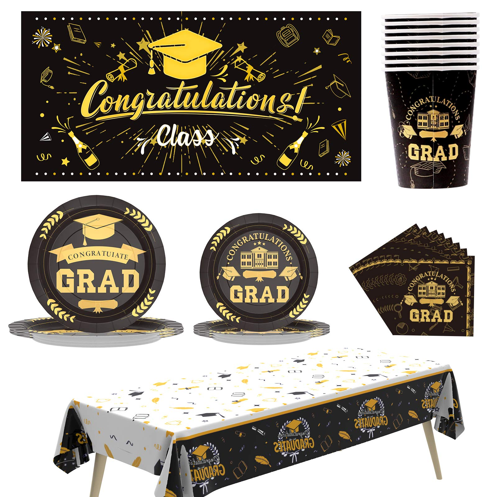 2021 Graduation Party Supplies for 20 People Bundle Includes Paper Oval Dinner Plates Dessert Plates /& Lunch Napkins Plus 2021 Glitter Table Centerpiece Well Done Congrats Grad 2021 Design