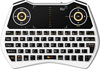 Rii 2.4GHz Mini Wireless Keyboard with Touchpad&QWERTY Keyboard, Backlit Portable Keyboard Wireless with Remote Control,Bu...