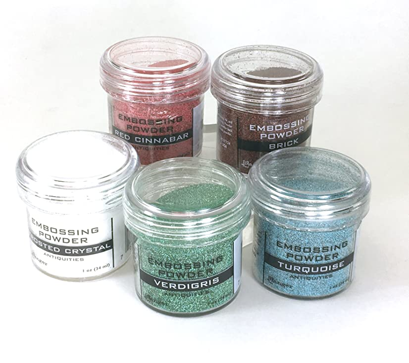 Ranger Embossing - Antiquities Set - Verdigris, Turquoise, Red Cinnabar, Brick & Frosted Crystal