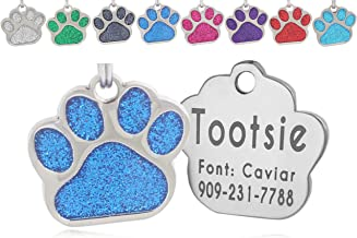 Laser Engraving Glitter Paw Pet ID Tags Custom Personalized for Dog & Cat Paw Print Tag