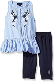 U.S. Polo Assn. Girls' 2 Piece Chambray Top and Capri Legging Set