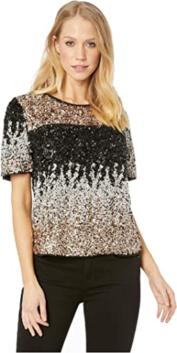 Ombre Sequin Puff Sleeve Top