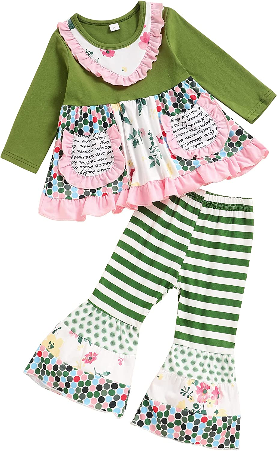 Toddler Baby Girls Clothes Ruffle Flower Tops and Bell-bottom Pants Outfit Set