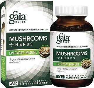 Gaia Herbs Mushrooms + Herbs Everyday Immune, Vegan Liquid Capsules, 60 Count - Immune and Daily Wellness Formula, Organic...