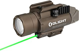 Image of OLIGHT Baldr Pro 1350 Lumens Tactical Weaponlight with Green Light and White LED, 260 Meters Beam Distance Compatible with 1913 or GL Rail, Powered by 2 x CR123A Batteries