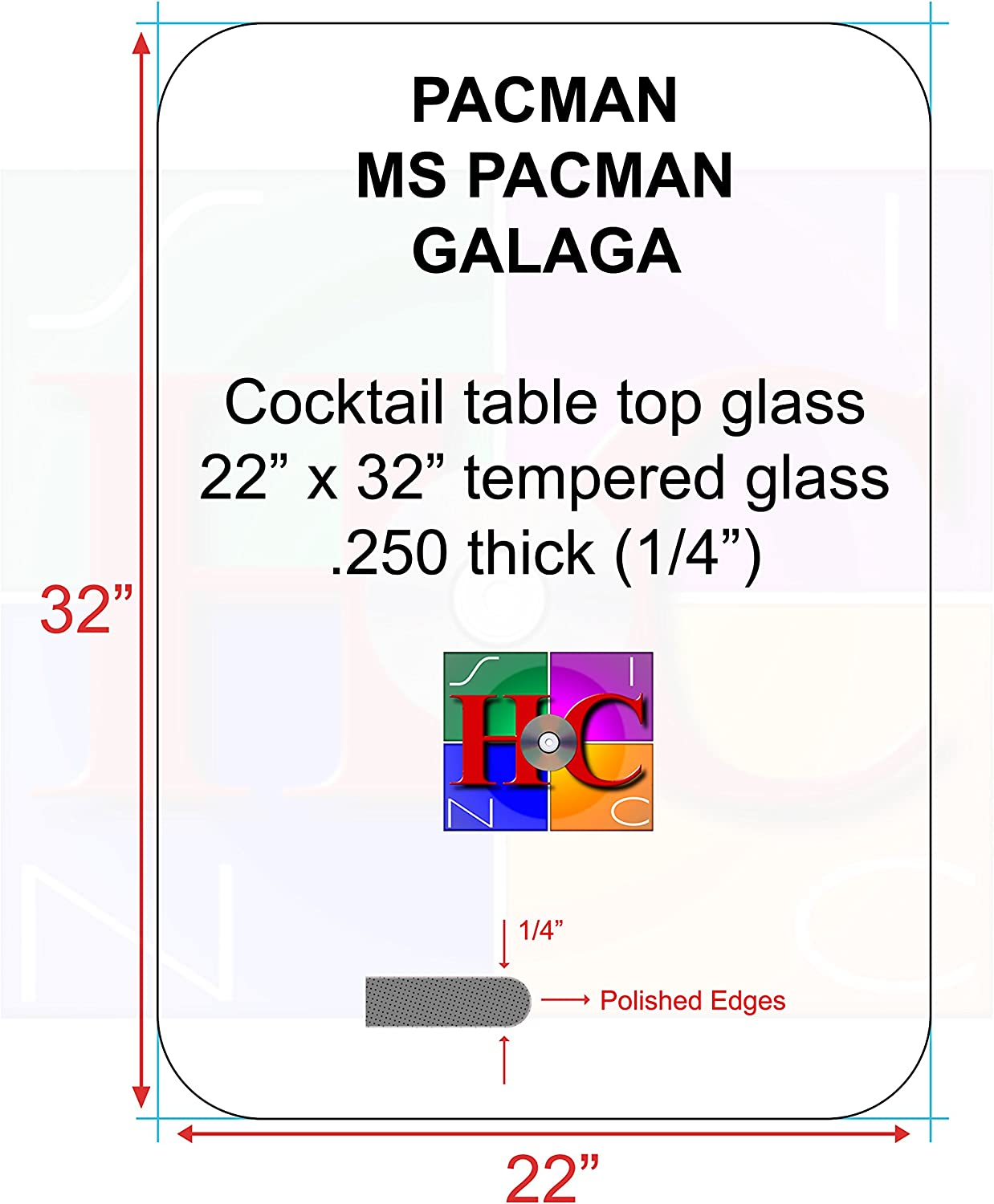 Replacement Tinted Cocktail Table top Glass with 3.5 in Radius  Fits Bally Midway Tables Plus aftermarket Arcade Cocktail Tables