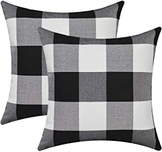 "Best Burlap Farmhouse Decor Buffalo Checkers Plaid Cotton Linen Decorative Throw Pillow Cover Rustic Cushion Cover Pillowcase for Sofa 18 x 18 Inch, Set of 2 (Black/White, 18""×18"") Review"