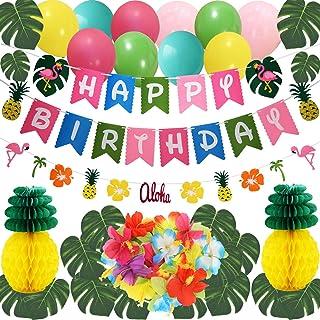 وسایل تزیین جشن تولد پارچه آناناس فلامینگو تایلر THAWAY تزیینات جشن تولد شامل بنر تولد ، برگهای خرما مصنوعی ، گلهای گیاهان ، گل آناناس ، آناناس های کاغذی بافت ، بادکنک های مهمانی