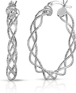 ARGENTO REALE Pendientes de aro en espiral de plata de ley 925 con corte de diamante, aretes de aro de alambre redondo, ar...