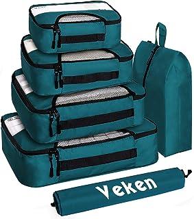 مجموعة من 6 مكعبات تعبئة ومنظمات حقائب السفر مع حقيبة غسيل وحقيبة أحذية (أزرق داكن) من فيكن