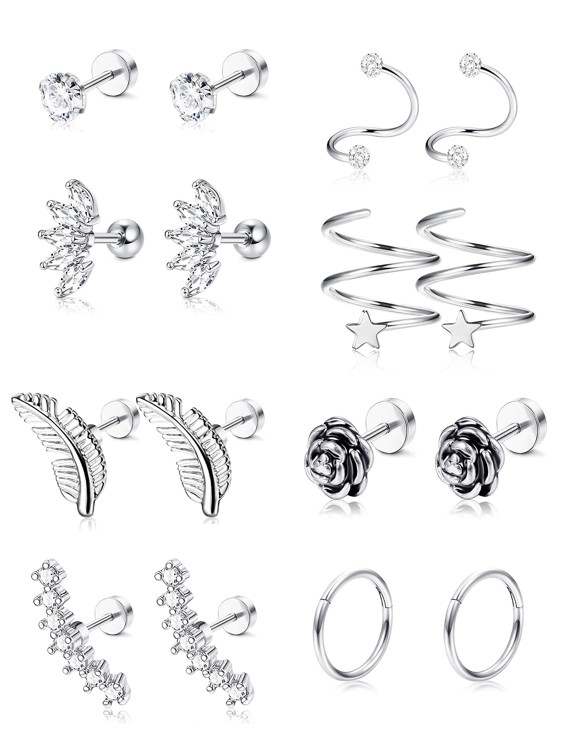 LOYALLOOK Stainless Cartilage Zirconia Earrings