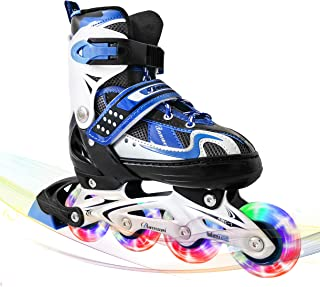 MammyGol Adjustable Inline Skates for Kids,Roller Skates with Featuring All Illuminating Wheels - Beginner Skates for Girls and Boys,Youth and Ladies.