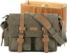 Plambag DSLR Camera Bag, Canvas SLR Messenger Shoulder Bag Army Green