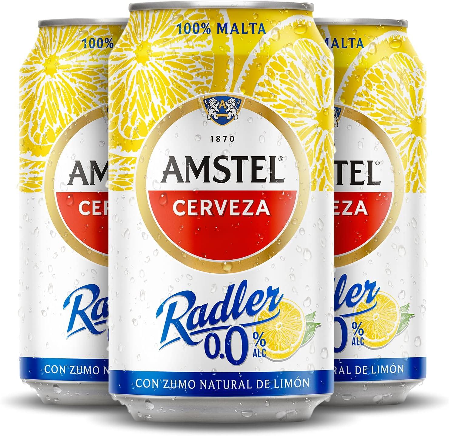 Amstel Radler 0,0 Alc Cerveza, Limon, Pack de 24 x 33cl