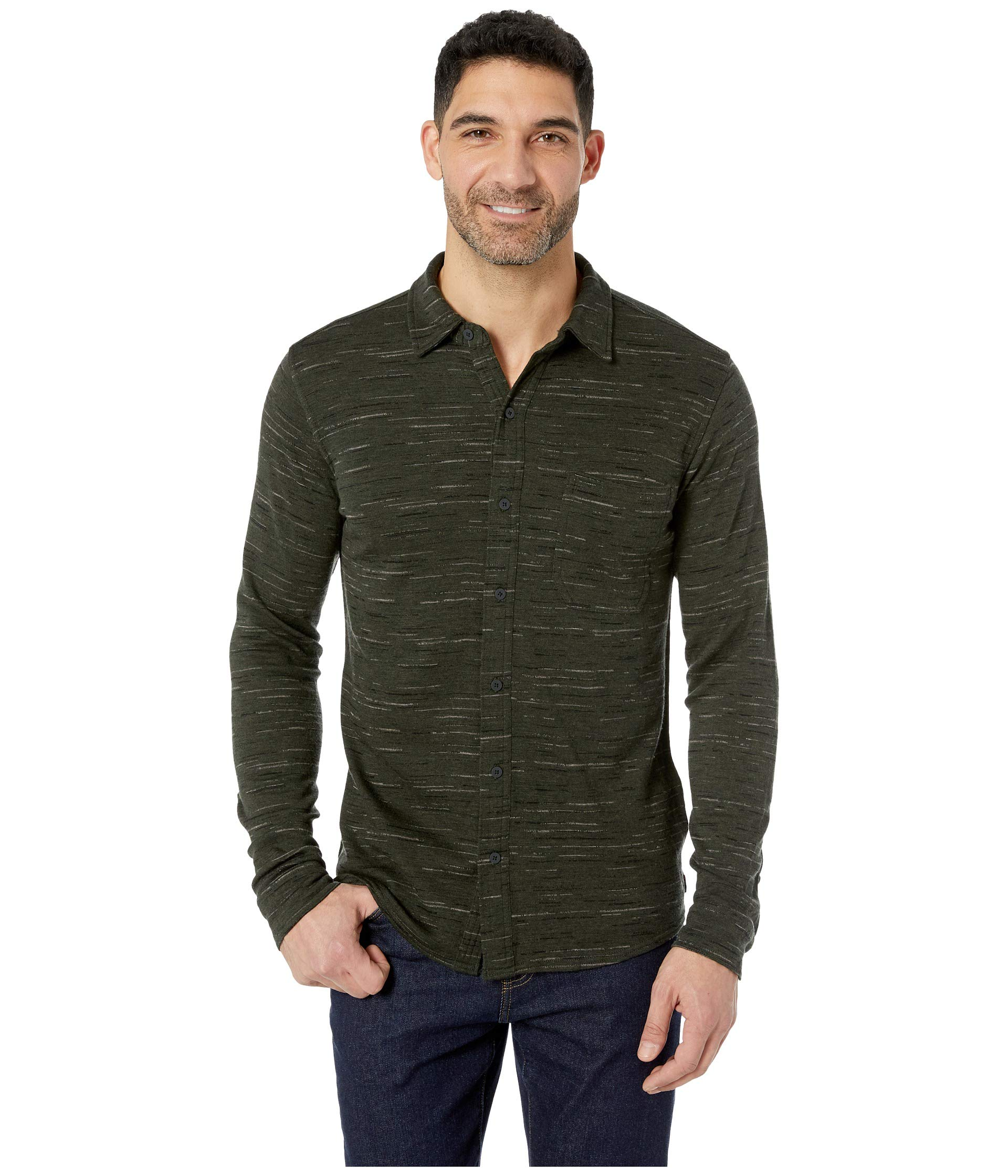 Shirt Merino 250 Sleeve Button Olive Long Down black Smartwool ZgwYzqz