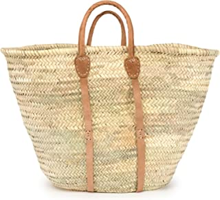 Moroccan Straw Beach Tote w/Leather Handles & Strips, 26