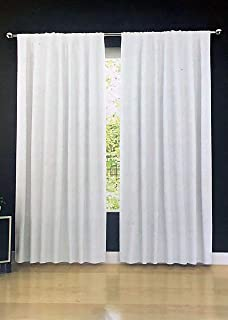 Tahari Home Solid White Belgian Linen Window Curtains Panels Drapery with Cotton Lining, Set of 2, Each Panel Measures 50 Inches by 96 Inches
