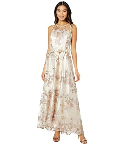 Tahari by ASL Sleeveless Embroidered Halter Long Gown (Rose Gold) Women