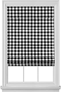 GoodGram Premium Cordless Retractable Buffalo Check Plaid Gingham Custom Roman Shades - Assorted Sizes & Colors (Black, 27 in. W x 64 in. L)