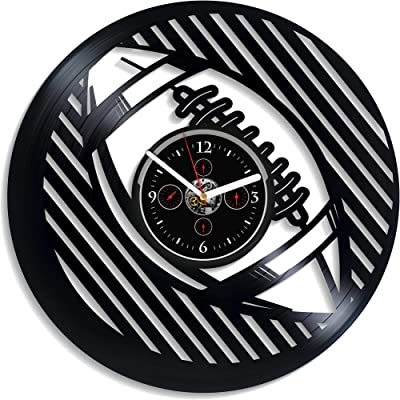 Kovides Birthday Gift Retro Wall Clock Large Football Sport Art Clock 12 Inch Football Wall Clock Sport Wall Clock Vintage Vinyl Record Football Gift for Boys New Year Gift Handmade LP Clock
