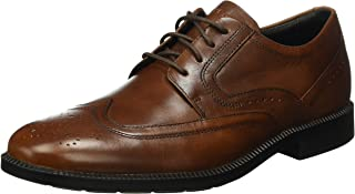 ROCKPORT Men's Dressports Formal Wing Tip Leather Uniform Dress Shoes, New Brown