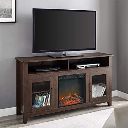 Amazon Com Walker Edison Glenwood Rustic Farmhouse Glass Door Highboy Fireplace Tv Stand For Tvs Up To 65 Inches 58 Inch Brown Furniture Decor