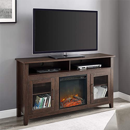 """Walker Edison Furniture AZ58FP18HBTB Tall Rustic Wood Fireplace TV Stand for TV's up to 64"""" Living Room Storage, Brown"""