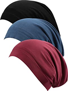 3 قطع من SATINIOR غطاء نوم مبطن بالساتان قبعة نوم مترهلة قبعة صوفية للنساء (أسود، أزرق داكن، أحمر خمري)