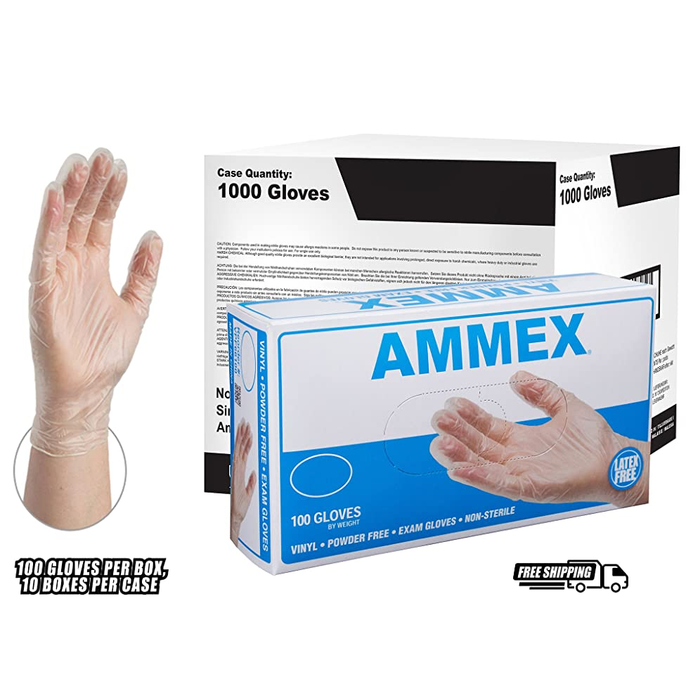 AMMEX Vinyl Disposable Gloves - Clear, 4 Mil, Powder Free, Exam, Non-Sterile, Small, Case of 1000