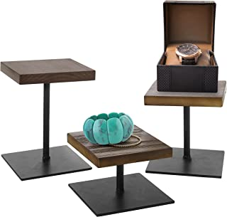 MyGift Rustic Dark Brown Wood & Black Metal Various Height Jewelry Display Risers Stand, Set of 3